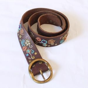 Lucky Brand Boho Embroidered Brown Leather Belt